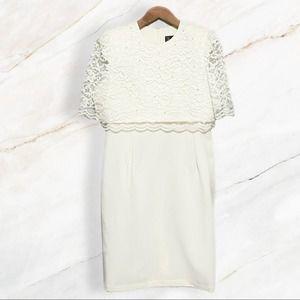 Vintage Short Lace Sheath Wedding Dress Size 16